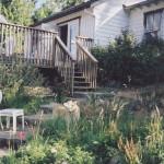 A rural cottage garden.